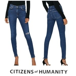 CITIZENS OF HUMANITY Rocket High Rise Skinny Jeans Dark Wash Distressed